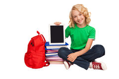 Free Little Blonde Girl Sitting On The Floor Near Books And Bag Stock Photography - 43058202