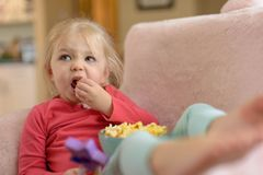 Little girl eating popcorn intently watching TV. Little blonde girl sitting on pink plush couch eating popcorn watching TV Stock Image