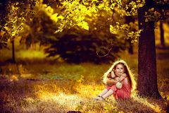 Little blonde girl sitting under a birch tree with a toy. In the rays of the setting sun stock photo