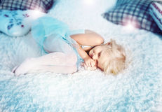 Little blonde girl sleeping Stock Photo
