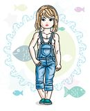 Little blonde girl toddler standing in fashionable casual clothe. S. Vector kid illustration. Sea fauna theme Royalty Free Stock Images