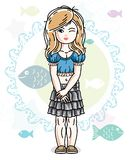Little blonde girl toddler standing in fashionable casual clothe. S. Vector kid illustration. Sea fauna theme Royalty Free Stock Photo