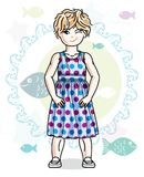 Little blonde girl toddler standing in fashionable casual clothe. S. Vector kid illustration. Sea fauna theme Stock Photo