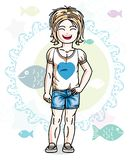Little blonde girl toddler standing in fashionable casual clothes. Vector kid illustration. Sea fauna theme royalty free illustration