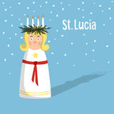 Little blonde girl with wreath and candle crown, Saint Lucia. Swedish Christmas tradition,  illustration background. Stock Images