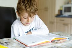 Little blonde school kid boy reading a book at home. Child interested in reading magazine for kids. Leisure for kids royalty free stock photos
