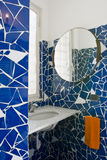 Little blue bathroom. With tile laid with the method opus incertum stock photos