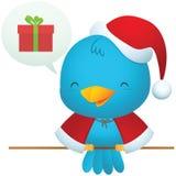 Little Blue Bird with Santa uniform Royalty Free Stock Image