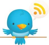 Little Blue Bird Talk. Illustration of little blue bird talking Royalty Free Stock Photos