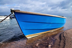 Little Blue Boat Stock Images