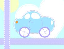 Little blue car for baby Royalty Free Stock Photography