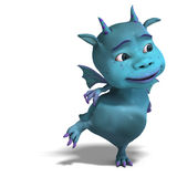 Little blue cute toon dragon devil Royalty Free Stock Image