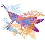 Little blue grasshopper vector illustration