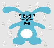Little blue hare with glasses and bowtie. Stock Image