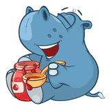 Illustration of a Cute Little Hippo Cartoon Character Royalty Free Stock Photo