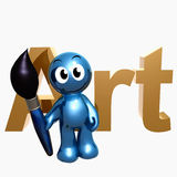 Little blue icon with art symbol Royalty Free Stock Image