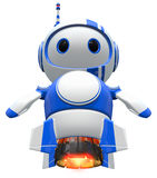 Little Blue Robot Blasting Off. Robot blasting off, with jet engines burning Royalty Free Stock Photography