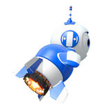 Little Blue Rocket Bot Blasting Off. Toward new discoveries Royalty Free Stock Photography