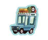 Little blue safari jeep. Illustration vector illustration