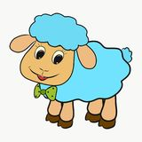 Little blue sheep with a bow tie.  Stock Image