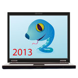 Little blue snake on the screen of notebook as a s. Blue snake on the screen of notebook as a symbol of New Year 2013 Royalty Free Illustration