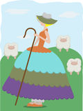 Little Bo Peep with sheeps. Girl herding with livestock wearing large colorful dress Royalty Free Stock Image