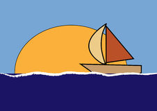 Little boat. Illustration of a sailing boat on the ocean with the sun Stock Image