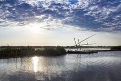 Little boat in the marsh stock photos