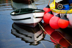 Little Boat ~ Mousehole Harbour. Boats moored at Mousehole harbour in Cornwall stock photo