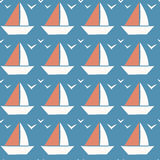 Little Boat Seamless Pattern. Tiny Boat on Blue Background. Royalty Free Stock Photo