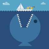 The Little Boat Should Leave The Shore. underwater royalty free illustration