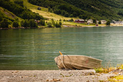 Little boat on water, norway fjord Royalty Free Stock Image