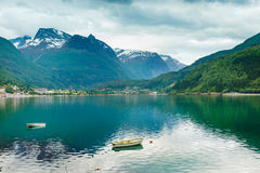 Little boat on water, norway fjord Stock Image
