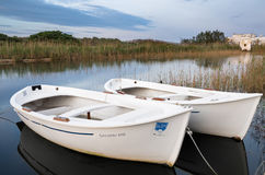 Little boat within the wetland Dune Costiere Park, Puglia, Italy Stock Photography