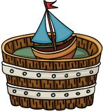Little boat in wooden tub. Scalable vectorial image representing a little boat in wooden tub, isolated on white vector illustration