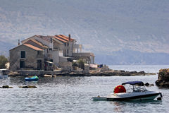 Little boats in front of houses in Komiza on Vis island Stock Photography