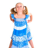 Little bold pertly with pigtails. Portrait of a little pertly girl with pigtails stock photography