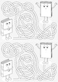 Little books maze. For kids with a solution in black and white Royalty Free Stock Photography