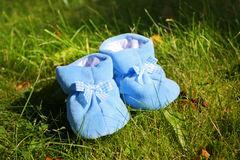 Little booties on the grass Royalty Free Stock Photography