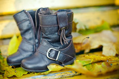 Little Boots. Close-up pair of brown children's boots for autumn Royalty Free Stock Images