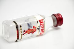 Geneva / Switzerland March 19 2018 : Beefeater Gin London isolated on white royalty free stock photos