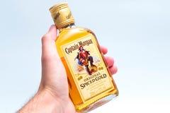 Geneva / switzerland - 5 july 2018 : Hip Flask mini bottle of captain morgan spiced rum stock photos