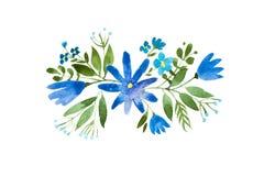 Little bouquet of blue wild flowers. Aquarelle floral illustration. Little bouquet of blue wild flowers. Aquarelle floral illustration stock illustration