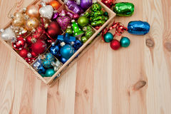 Little box with christmas baubles Royalty Free Stock Images
