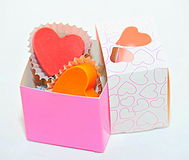 Little box of heart shaped chocolates Royalty Free Stock Image