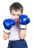 Little boxer. Little boy in hat boxing isolated on white Royalty Free Stock Images