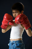 Little boxer. Young asian boy with serious expression wearing red boxing gloves standing on black background Stock Image