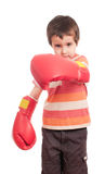 Little boxer attack. Little angry boy boxer attack isolated on white Stock Image