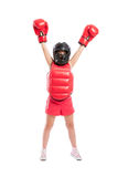 Little boxer girl. Acting like a champion isolated on white background Royalty Free Stock Images