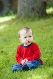 Little boy. The little thinking boy outdoors royalty free stock photo